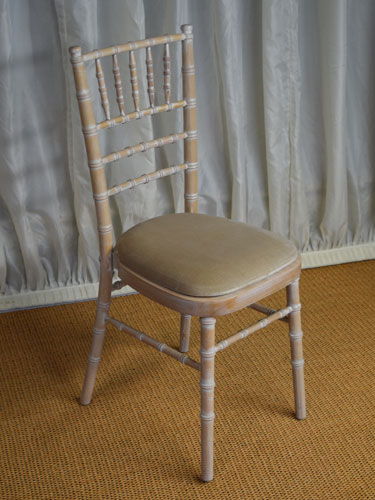 Limewash Chiavari Chair with Ivory Seat Pad