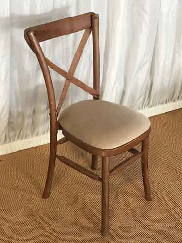 Cross Back Chair with Ivory Seat Pad