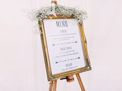 wedding accessory hire, wedding signage, catering wedding, wedding menu