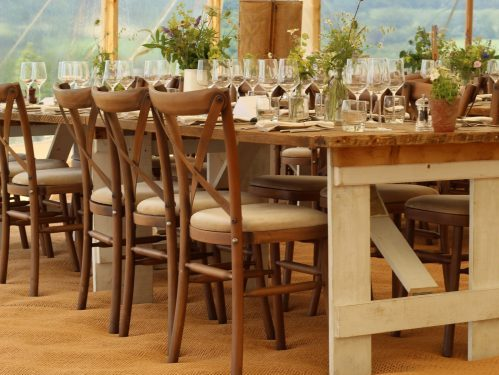 Crossback Chairs and Rustic Tables, wedding furniture, chair hire dorset, table hire dorset, rustic furniture