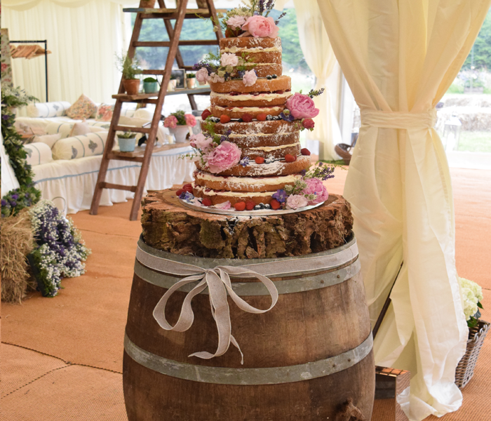 Oak Barrel Cake Stand, Furniture for Hire, wedding furniture, furniture hire dorset, furniture wedding