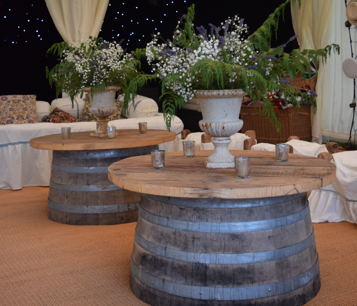 Oak Barrel Coffee Tables, coffee, table hire, chair hire, wedding hire, furniture for hire, wedding furniture, rustic wedding dorset